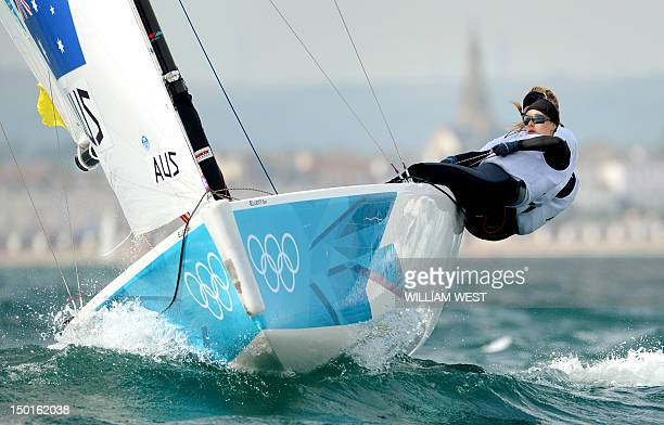 Australia's Lucinda Whitty Nina Curtis and Olivia Price sail to the silver medal in the women's sailing Elliott 6m race during the 2012 London...
