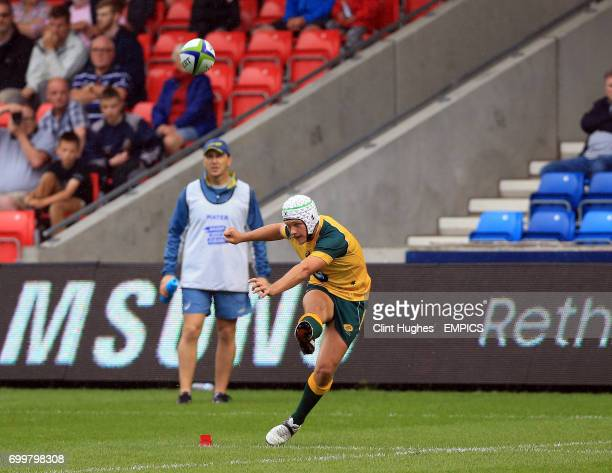 Australia's Mack Mason cenverts a try during the Under 20's Rugby Union World Cup match at the AJ Bell Stadium Salford