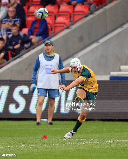Australia's Mack Mason converts a try during the Under 20's Rugby Union World Cup match at the AJ Bell Stadium Salford