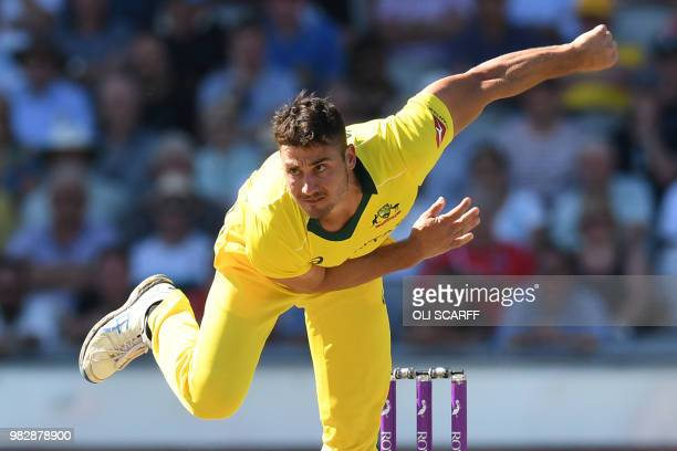 Australia's Marcus Stoinis bowls during the fifth One Day International cricket match between England and Australia at Old Trafford cricket ground in...