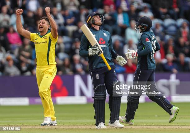 Australia's Marcus Stoinis celebrates as England's Joe Root is caught on the boundary as England's Jason Roy looks on during the Royal London OneDay...