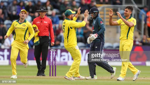 Australia's Marcus Stoinis celebrates with his team mates after taking the wicket of England's Joe Root during the Royal London OneDay Series 2nd ODI...