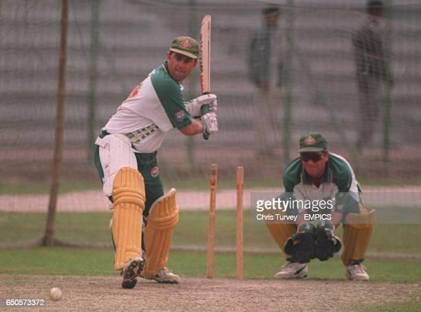 Australia's Mark Taylor batting in front of wicketkeeper Ian Healy