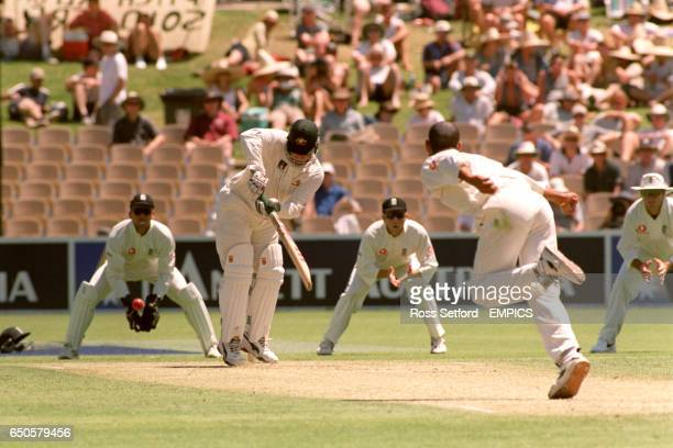 Australia's Mark Taylor turns the ball off the bowling of England's Dean Headley