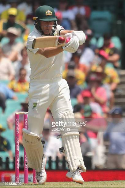 Australias Marnus Labuschagne bats during the first day of the third cricket Test match between Australia and New Zealand at the Sydney Cricket...