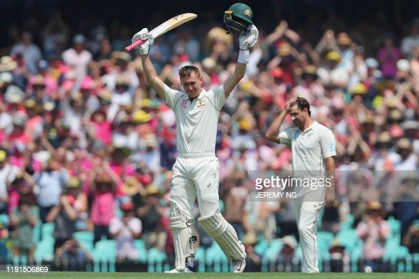 Australias Marnus Labuschagne celebrates scoring a double century during the second day of the third cricket Test match between Australia and New...