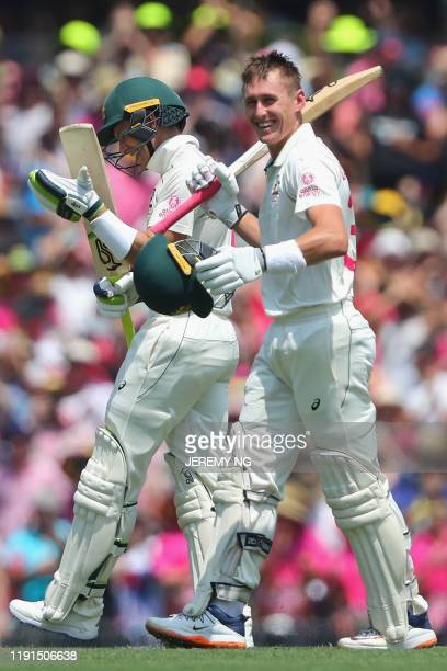 Australias Marnus Labuschagne celebrates scoring a double hundred during the second day of the third cricket Test match between Australia and New...