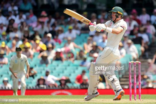 Australias Marnus Labuschagne plays a shot during the first day of the third cricket Test match between Australia and New Zealand at the Sydney...
