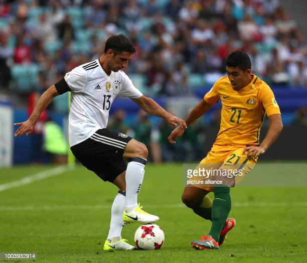 Australia's Massimo Luongo and Germany's Lars Stindl vie for the ball during the Confederations Cup group stages Group B match in the Fisht Stadium...
