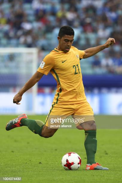 Australia's Massimo Luongo in action during the Confederations Cup group stages Group B match between Australia and Germany in the Fisht Stadium in...