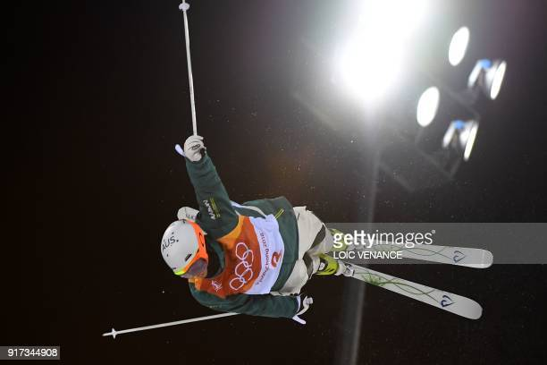 TOPSHOT Australia's Matt Graham competes to place second of the men's moguls final during the Pyeongchang 2018 Winter Olympic Games at the Phoenix...