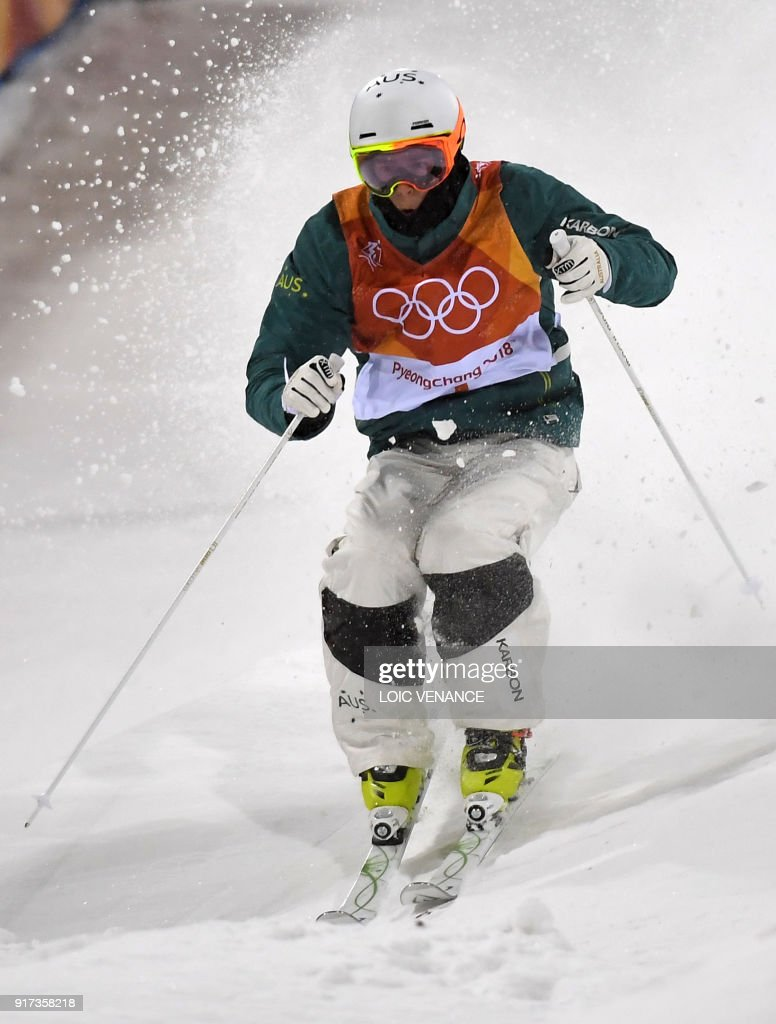 Australia's Matt Graham competes to place second of the men's moguls final during the Pyeongchang 2018 Winter Olympic Games at the Phoenix Park in Pyeongchang on February 12, 2018. /