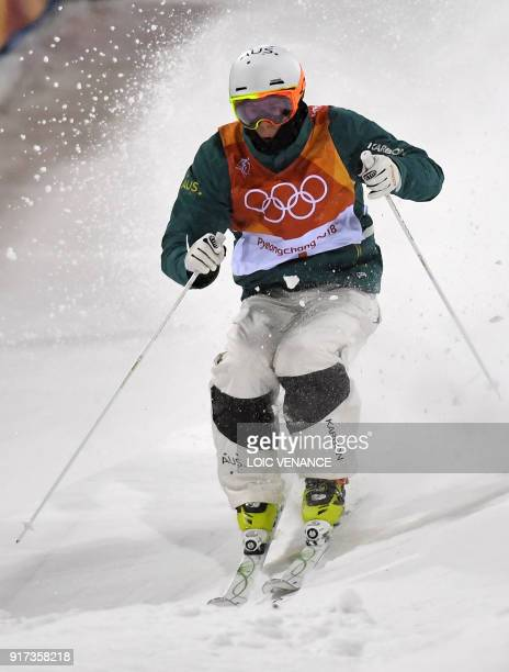 Australia's Matt Graham competes to place second of the men's moguls final during the Pyeongchang 2018 Winter Olympic Games at the Phoenix Park in...