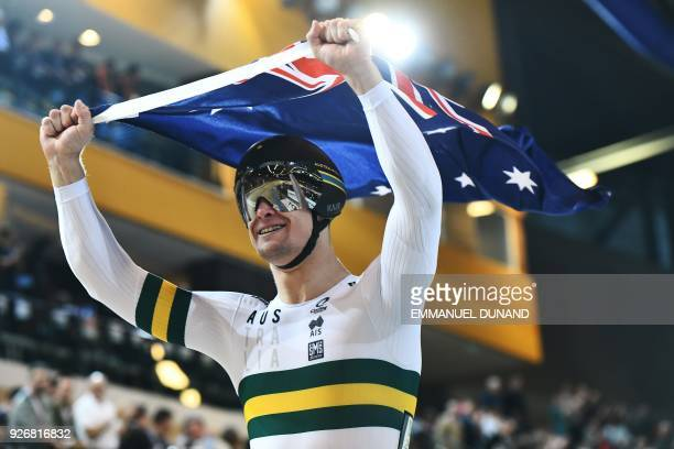 Australia's Matthew Glaetzer celebrates after winning the men's sprint final during the UCI Track Cycling World Championships in Apeldoorn on March 3...