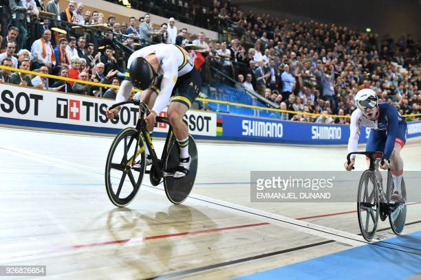 Australia's Matthew Glaetzer competes to first place ahead of Great Britain's Jack Carlin in the men's sprint gold medal race during the UCI Track...