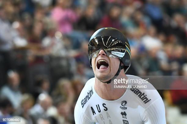 Australia's Matthew Glaetzer takes part in the men's one kilometre time trial final during the UCI Track Cycling World Championships in Apeldoorn on...