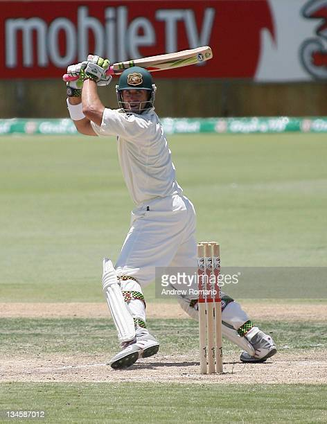 Australia's Matthew Hayden sends the ball off to Collingwood for his dismissal during day three of the third Ashes test between Australia and England...