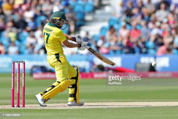 Australias Meg Lanning cuts for four during the Ashes match between England and Australia at 1st Central County Ground, Hove on Sunday 28th July 2019.