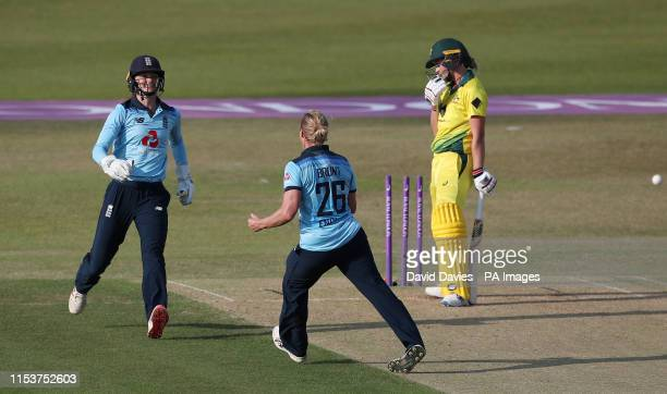 Australia's Meg Lanning is bowled by England's Katherine Brunt during the Second One Day International match of the Women's Ashes Series at the...