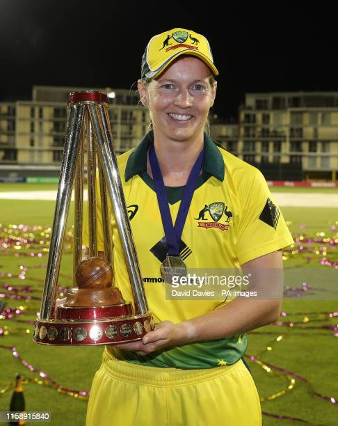 Australia's Meg Lanning with the Womens Ashes trophy after the Ashes T20 match at Bristol County Ground