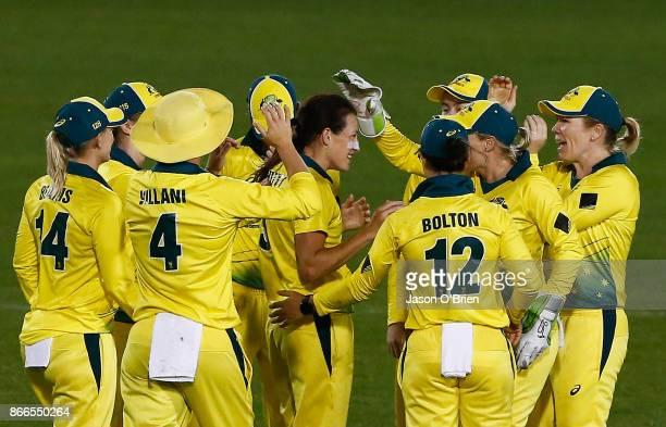 Australia's Megan Schutt celebrates taking the wicket of Tammy Beaumontduring the Women's One Day International match between Australia and England...