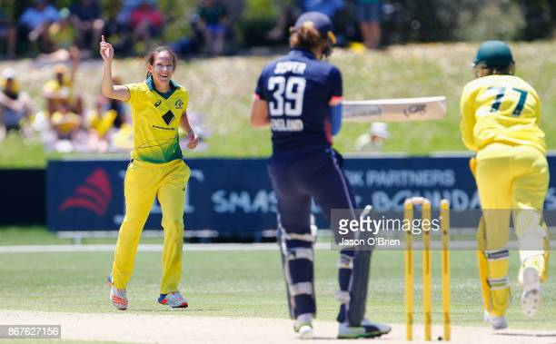 Australia's Megan Schutt celebrates the wicket of Natalie Sciver during the Women's International One Day match between Australia and England on...