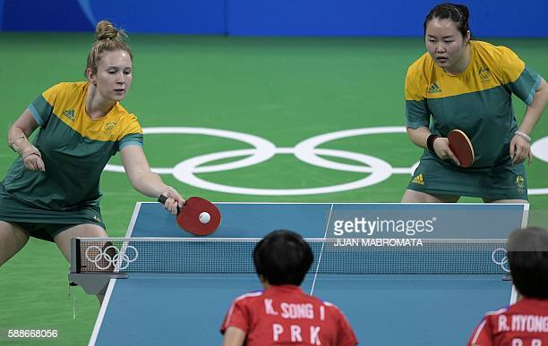 Australia's Melissa Tapper hits a shot next to teammate Australia's Zhang Ziyu in their women's team qualification round table tennis match against...