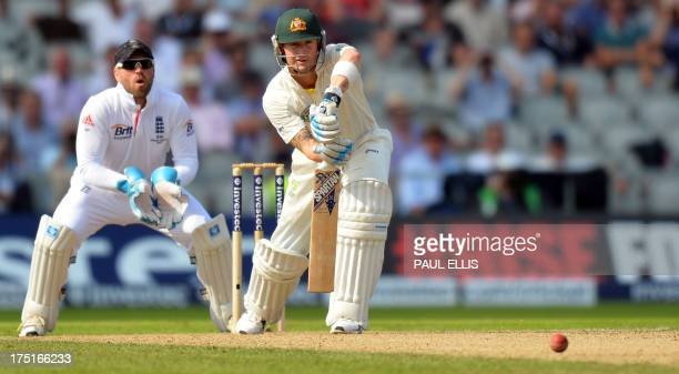 Australia's Michael Clarke batting during play on the first day of the third Ashes cricket test match between England and Australia at Old Trafford...