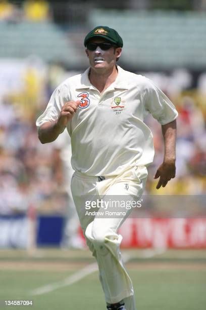 Australia's Michael Hussey fielding during the 3 Ashes Third Test Fourth Day at the WACA Ground in Perth Australia on December 17 2006