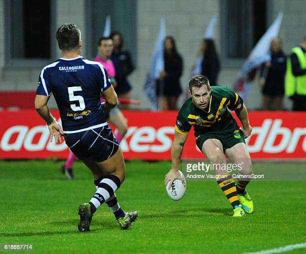 Australia's Michael Morgan scores his sides eighth try during the Four Nations match between the Australian Kangaroos and Scotland at Lightstream...