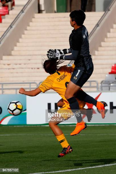 Australia's midfielder Alex Chidiac vies for the ball with Thailand's goalkeeper Waraporn Boonsing during the AFC Women's Asian Cup semi final match...