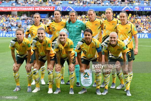 Australia's midfielder Chloe Logarzo Australia's forward Emily Gielnik Australia's goalkeeper Lydia Williams Australia's midfielder Emily Van Egmond...
