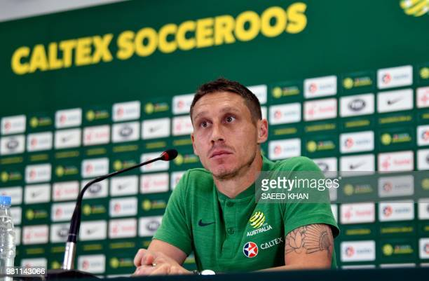 Australia's midfielder Mark Milligan speaks during a press conference in Kazan on June 22 as part of the Russia 2018 World Cup football tournament