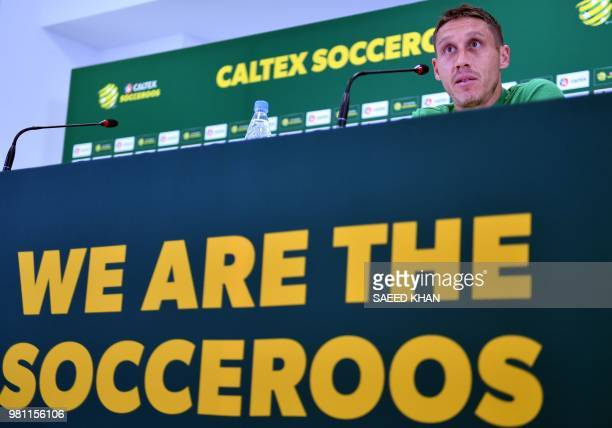 Australia's midfielder Mark Milligan speaks during a press conference in Kazan on June 22 as part of the Russia 2018 World Cup football tournament.