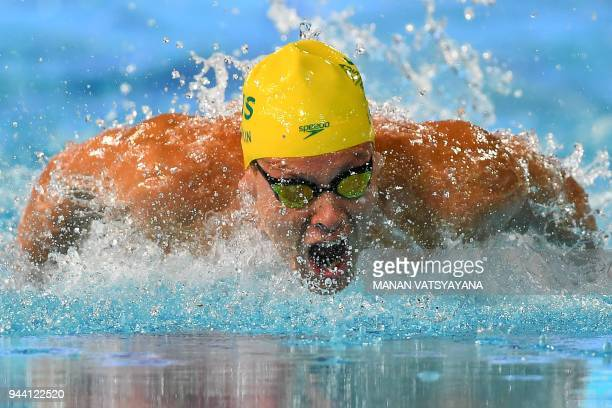 Australia's Mitch Larkin competes during the swimming men's 200m individual medley final during the 2018 Gold Coast Commonwealth Games at the Optus...