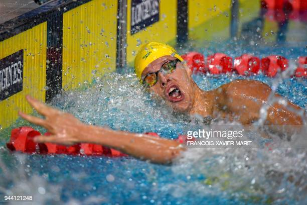 Australia's Mitch Larkin wins the swimming men's 200m individual medley final during the 2018 Gold Coast Commonwealth Games at the Optus Aquatic...