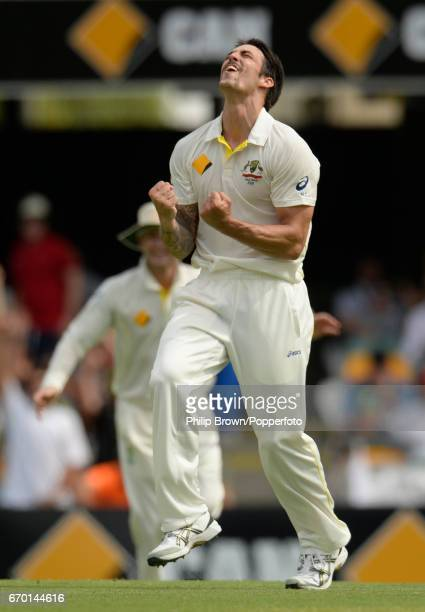 Australia's Mitchell Johnson celebrates after dismissing England's Graeme Swann during the 1st Ashes cricket Test match between Australia and England...