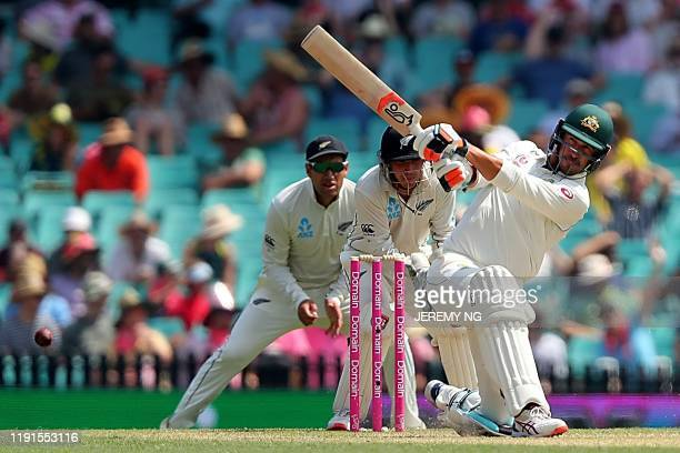 Australias Mitchell Starc bats during the second day of the third cricket Test match between Australia and New Zealand at the Sydney Cricket Ground...