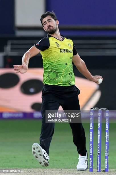 Australia's Mitchell Starc bowls during the ICC mens Twenty20 World Cup cricket match between Australia and Sri Lanka at the Dubai International...