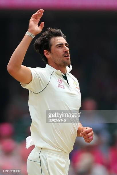 Australia's Mitchell Starc bowls during the third day of the third cricket Test match between Australia and New Zealand at the Sydney Cricket Ground...
