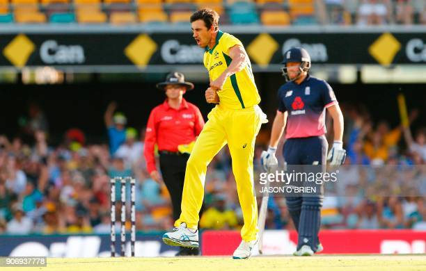 Australia's Mitchell Starc celebrates after taking the wicket of England's Jason Roy during the oneday international cricket match between England...