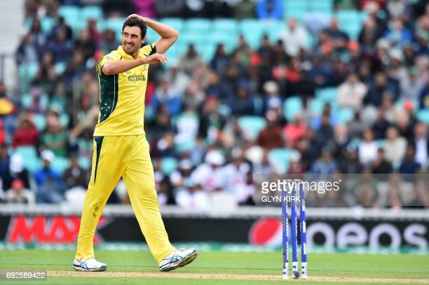Australia's Mitchell Starc reacts during the ICC Champions Trophy match between Australia and Bangladesh at The Oval in London on June 5 2017 / AFP...