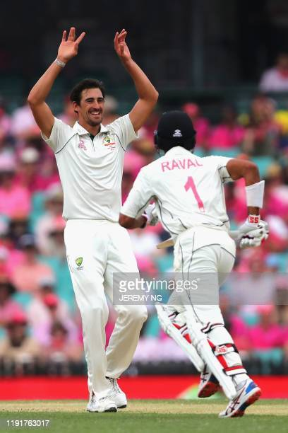 Australias Mitchell Starc reacts during the third day of the third cricket Test match between Australia and New Zealand at the Sydney Cricket Ground...