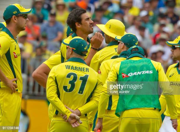 Australia's Mitchell Starc waits on an appeal for the wicket of England's Jason Roy during the fifth oneday international cricket match between...