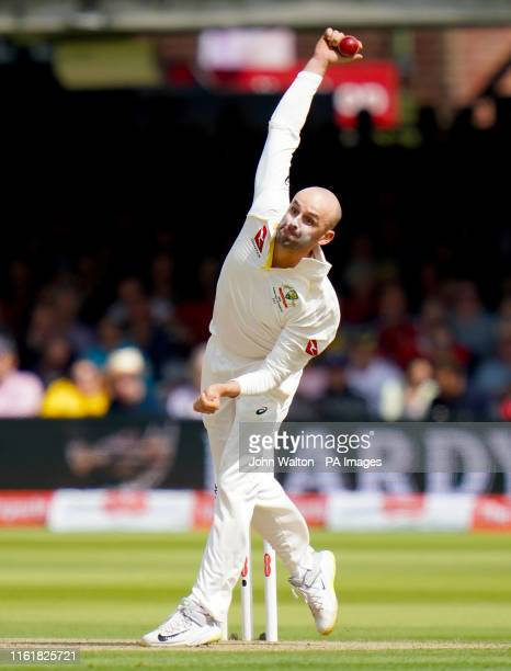 Australia's Nathan Lyon bowls during day two of the Ashes Test match at Lord's, London.