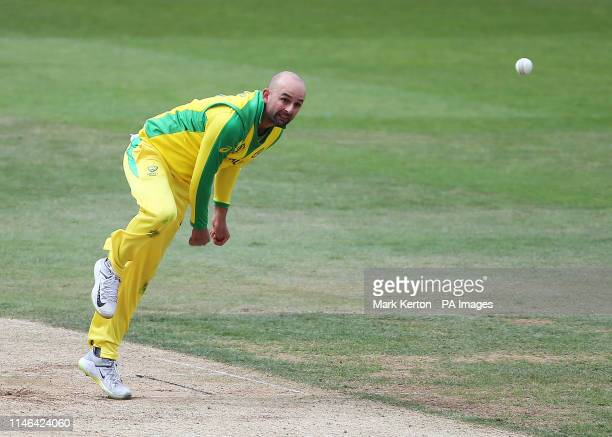 Australia's Nathan Lyon in bowling action during the ICC Cricket World Cup Warm up match at the Hampshire Bowl, Southampton.