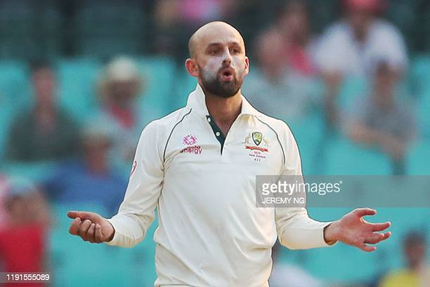 Australias Nathan Lyon reacts during the second day of the third cricket Test match between Australia and New Zealand at the Sydney Cricket Ground in...