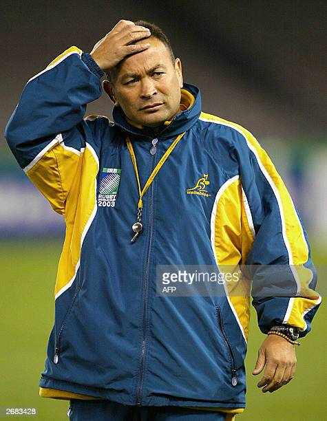 Australia's national coach Eddie Jones watches his players during the captain's run practice in Melbourne 31 October 2003The Wallabies will meet...