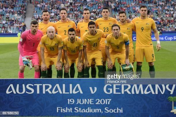 Australia's national football team players Australia's defender Bailey Wright defender Milos Degenek defender Trent Sainsbury forward Tommy Rogic...