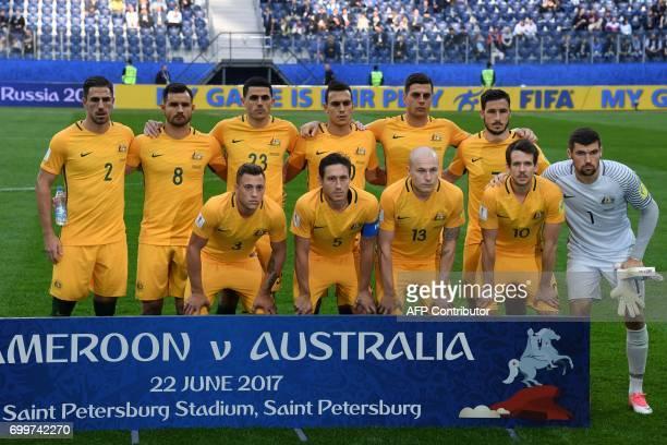 Australia's national football team players Australia's defender Milos Degenek defender Bailey Wright forward Tommy Rogic defender Trent Sainsbury...